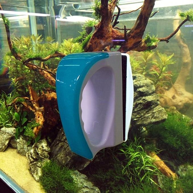 SODIAL Cepillo flotante magnetico de acuario tanque de vidrio Limpiador de algas Limpiador de Cepillo de imanes para limpieza de ventanas para acuario ...