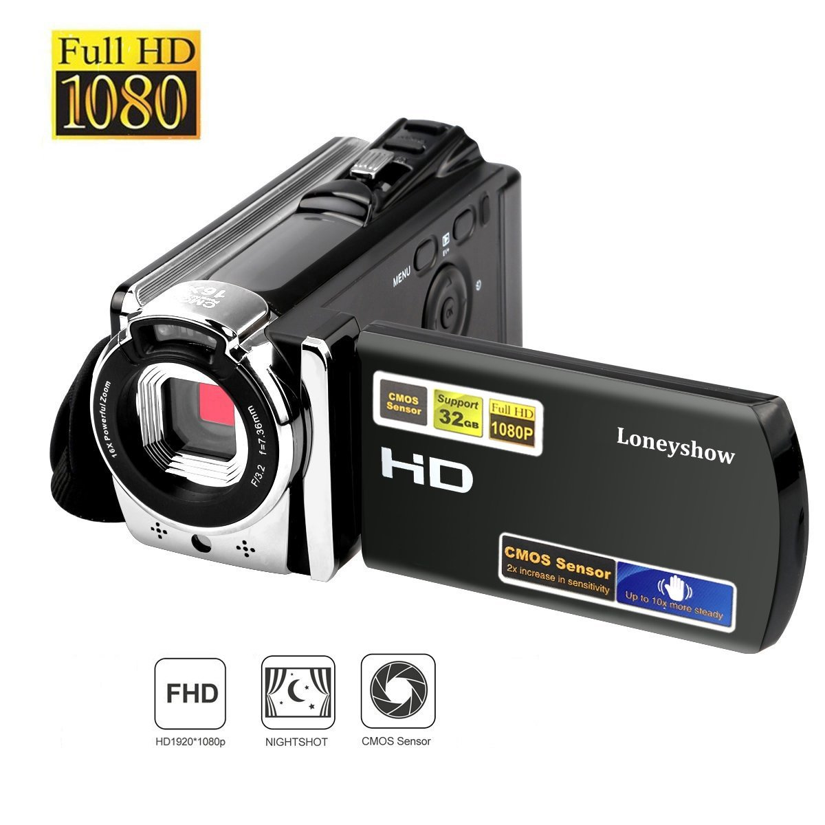 Camera Camcorder HD 1080P 24MP 16X Digital Zoom Video Camera Infrared Night Vision Handy Camera with 3.0'' LCD and 270 Degree Rotation Screen for Novice(Black)