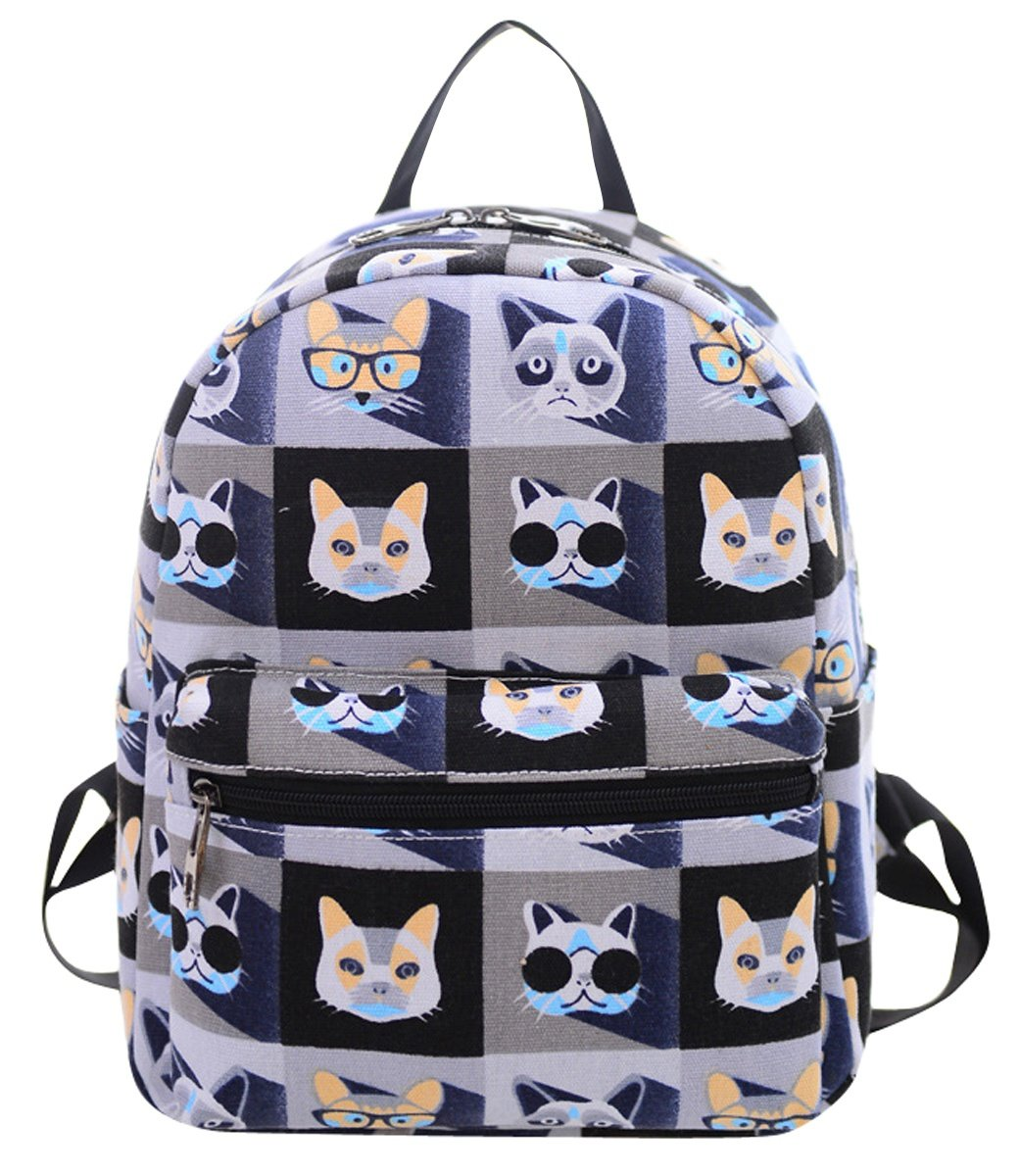 FEOYA Women's Canvas Backpack School Bag Fashion Book Bags Backpacks for Girls,Teens and Kids Cat Purple