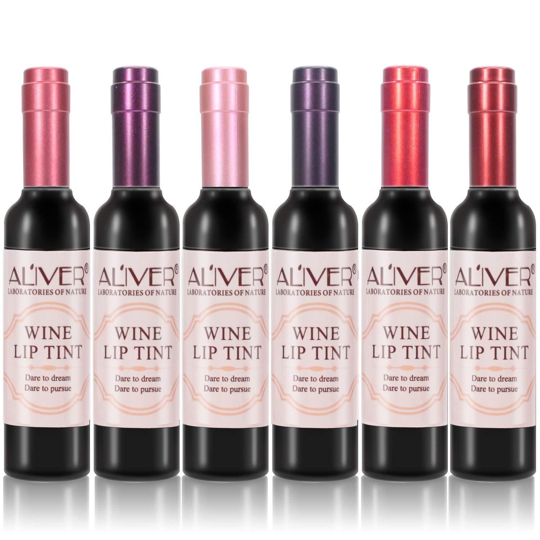 6 Colors Wine Lip Tint, Natural Liquid Lipstick Long Lasting Mini Make Up Lip Gloss Matte Lip Sticks Wine Bottle