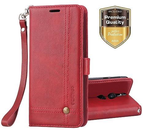 Funda Sony Xperia XZ2, Ferlinso Carcasa Cuero Retro Elegante con ID Tarjeta de Crédito Tragamonedas Soporte de Flip Cover Estuche de cierre magnético ...