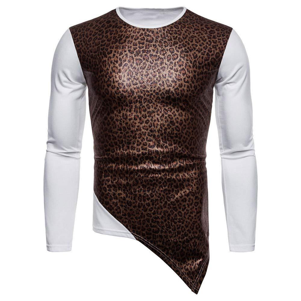 Sumen Men Clothing Clearance!Fashion Long Sleeve O-Neck Leopard Print Irregular Hem Shirt Blouse