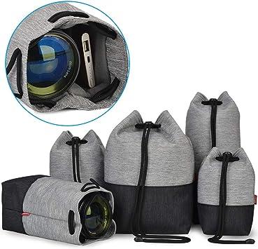 Lens Case,5pcs Camera Lens Storage Bag Protective Case Shockproof Pouch Set Photography Accessory,for SLR Camera Lens