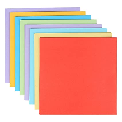 pigloo pack of 120 square origami craft color paper sheets size