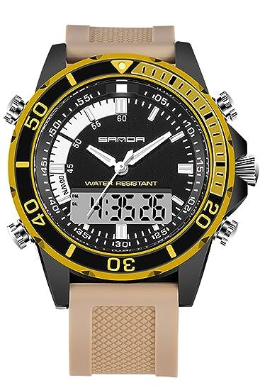 Sanda para hombre relojes Digital analógico LED Militar deportes electrónicos relojes de pulsera Oro: Amazon.es: Relojes