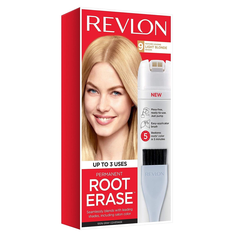 Revlon Root Erase Permanent Hair Color, Root Touchup Hair Dye, 100% Gray Coverage, 9 Light Blonde, 3.2 oz