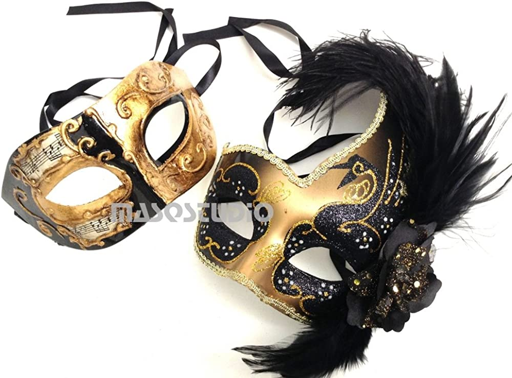 MASQSTUDIO Couples Black Gold Masquerade Ball Mask Pair Feather Mardi Gras Party Valentines Gift for Her