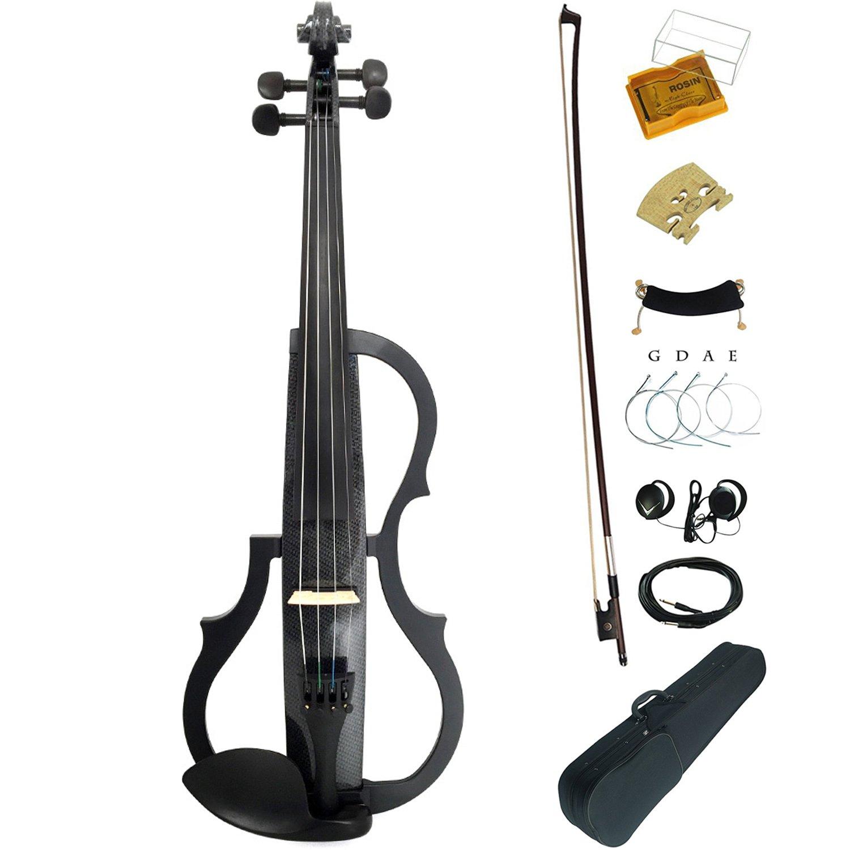 Leeche Carbon Fiber Pattern Solid Wood Electric/Silent Violin Ebony Fittings Full Size 4/4 Advanced -SDDS