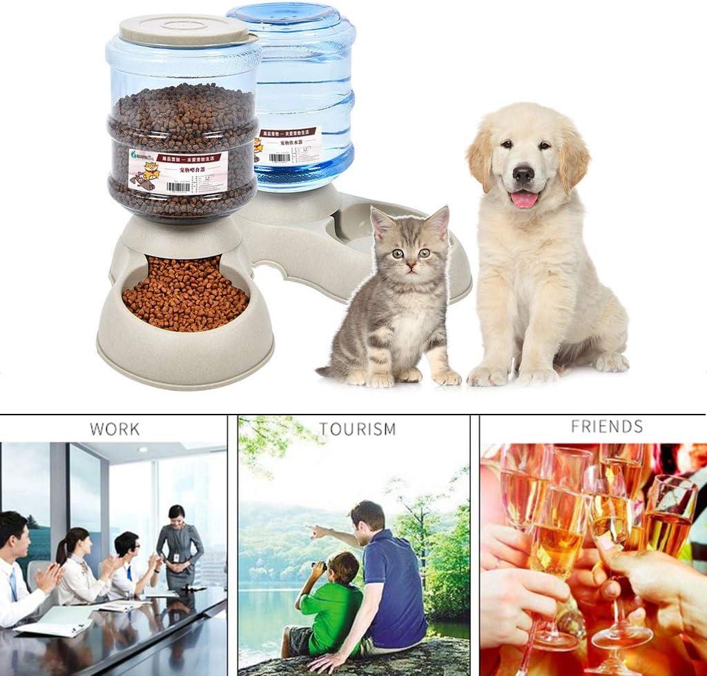 Wqingng 3.7L Large Capacity Plastic Cat Dog Automatic Feeder Waterer Pet Bowl Dispenser Self-Dispensing Gravity