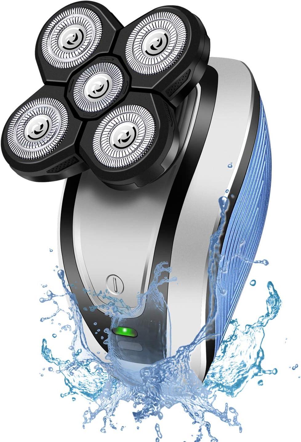 Hangrui Afeitadora Eléctrica,Máquina de Afeitar Eléctrica para Hombres Impermeable,Seco y Húmedo Afeitadora Rotativa con 5 Cabezas Flotantes,Recortadora Barba,Calva Cortapelos(USB Recargable): Amazon.es: Salud y cuidado personal