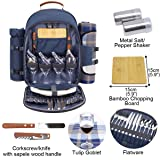 Sunflora Picnic Backpack for 4 Person Set Pack with Insulated Waterproof Pouch for Family Outdoor Camping