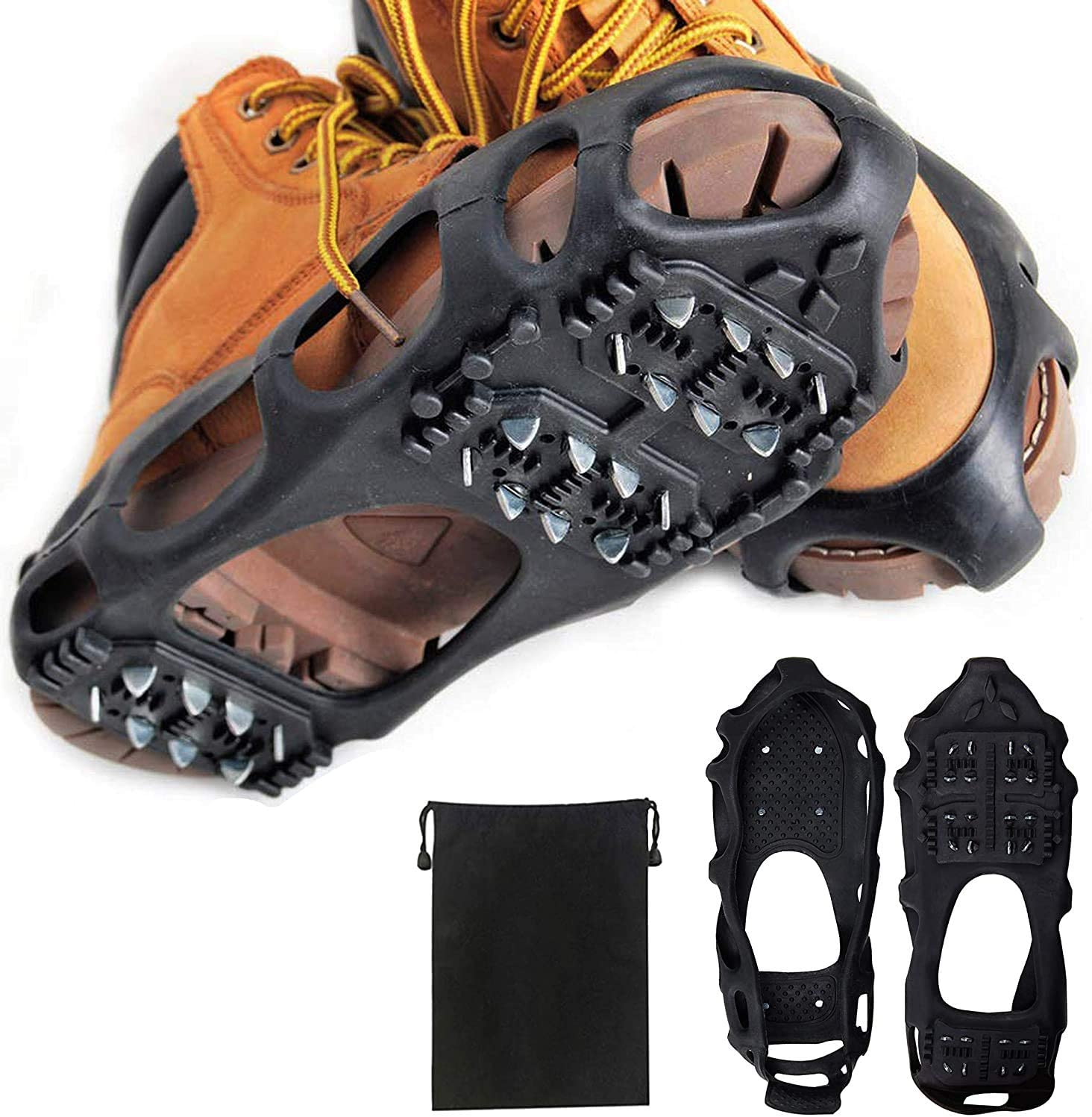 Ice Cleats Walking Jogging Walking On Ice Snow Boots Shoes Crampons Traction Cleats Grippers Spikes Hiking Winter Walker Traction Device for Hiking