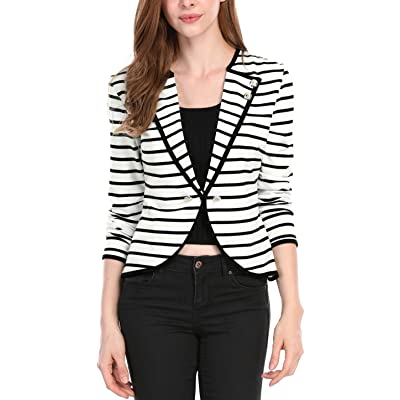 Allegra K Women's Notched Lapel Button Decor Lightweight Striped Blazer Jacket at Amazon Women's Clothing store