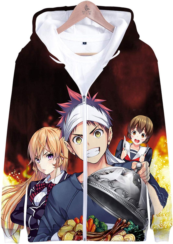 Anime 3D Printed Food Wars! Shokugeki no Soma Cosplay Sports Unisex Hooded Zipper Jacket Sweatshirt Hoodie Costume Coat Tops