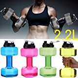 lilyy 2.2L Big Capacity PETG Eco-Friendly Cup Dumbbell Shape Drinking Water Bottles Kettle Personalized Bottle (Pink)