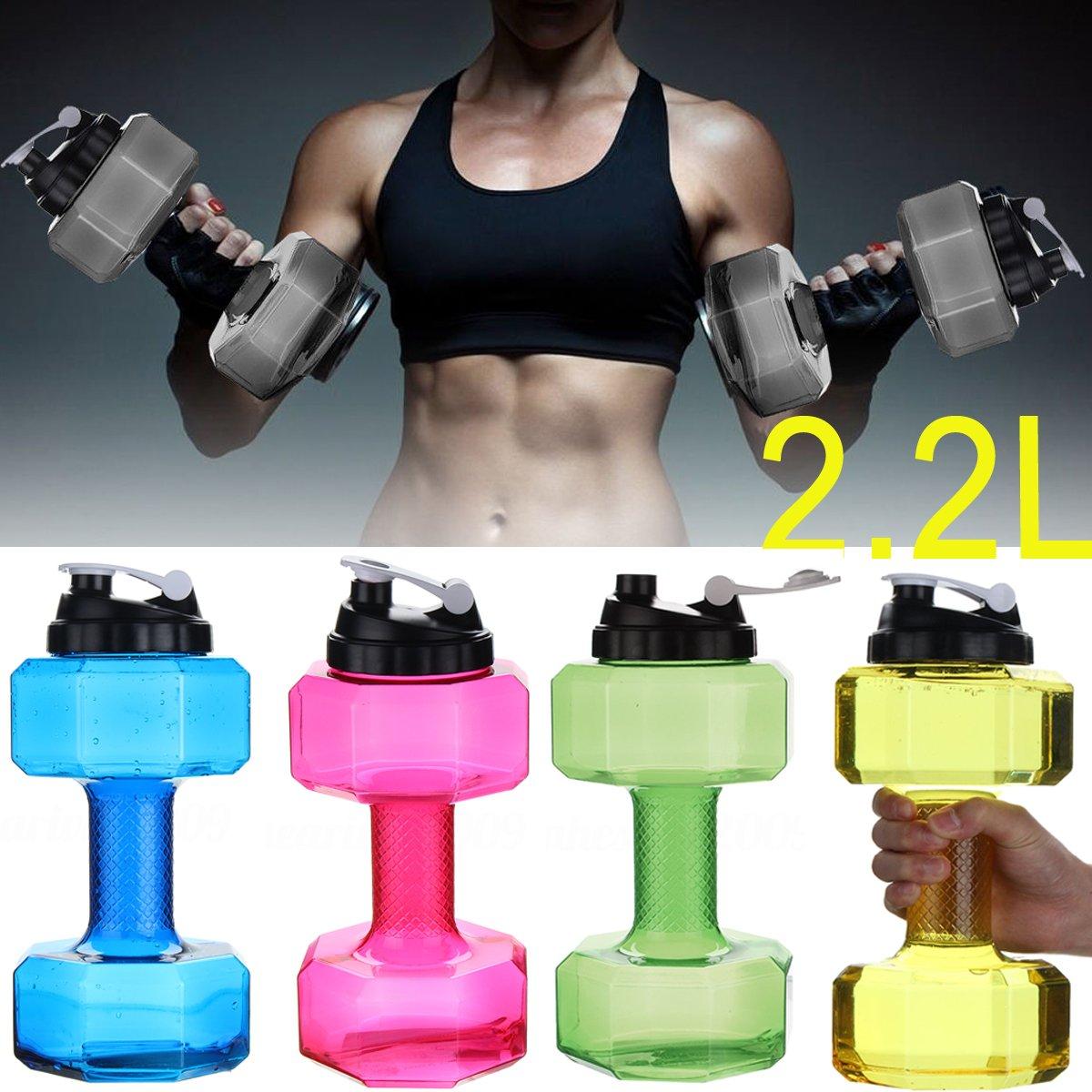 Lilyy 2.2L Big Kapazität PETG Umweltfreundlich Tasse Hantel Form Trinkwasser Flaschen Wasserkocher Personalisierte Flasche (BPA-frei)