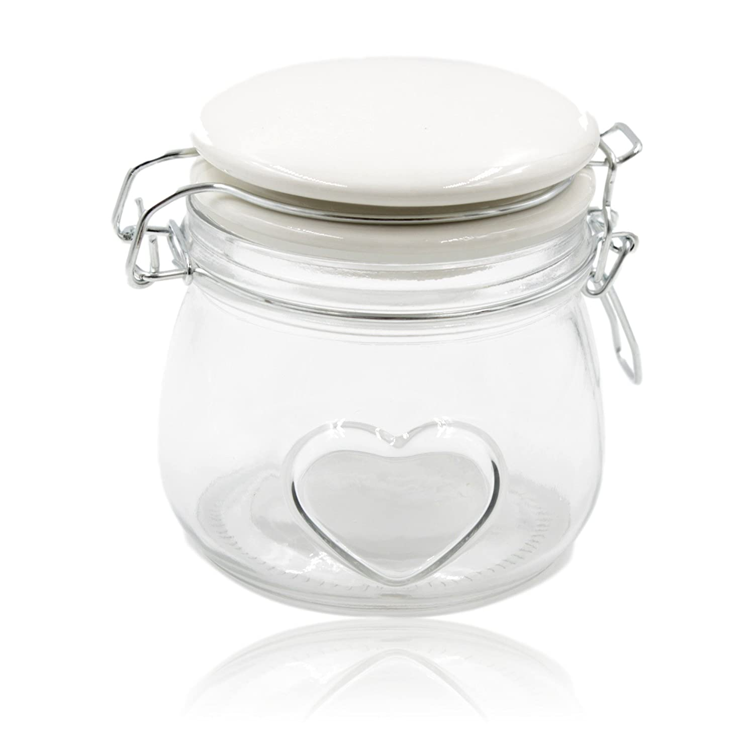 Small Clip seal Air Tight Jar with White Lid h12cm West5Products