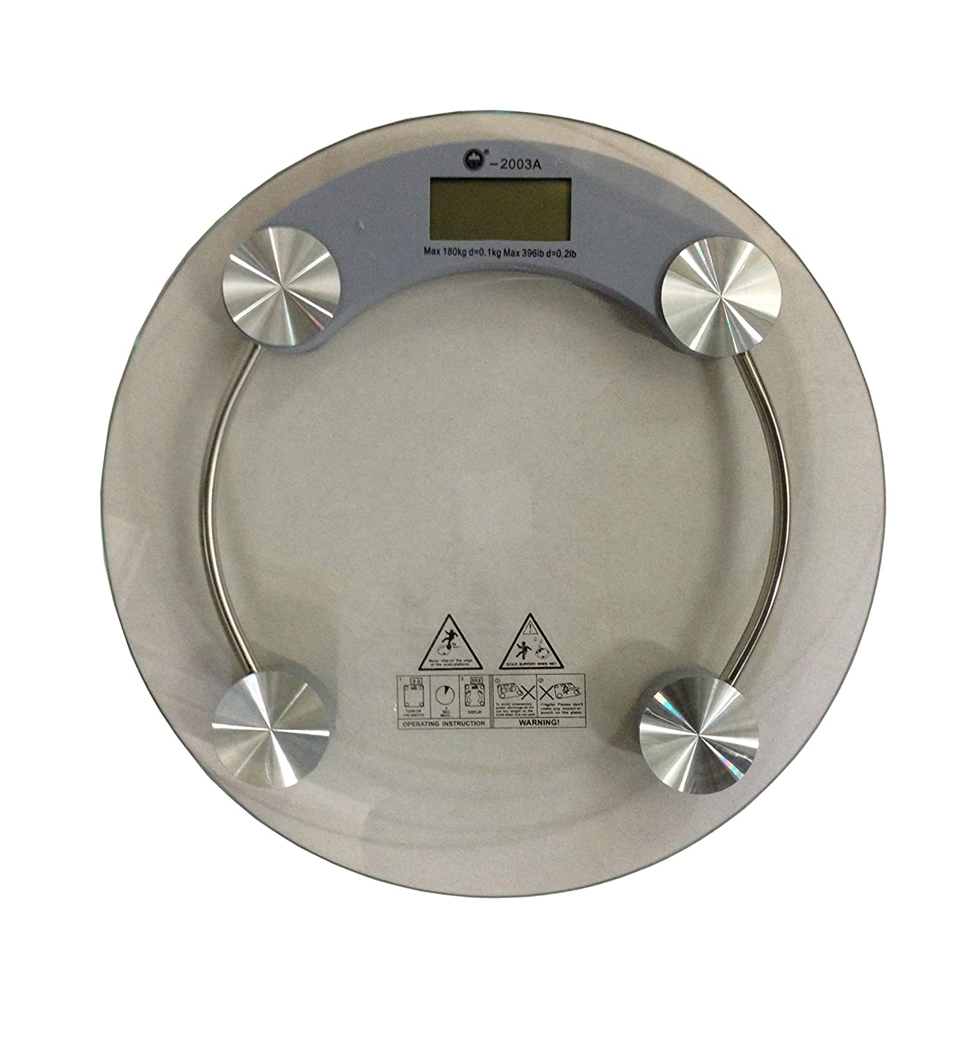 180 KG DIGITAL ELECTRONIC GLASS LCD BATHROOM BODY WEIGHING SCALE MEASURING SCALE (Round Plain)