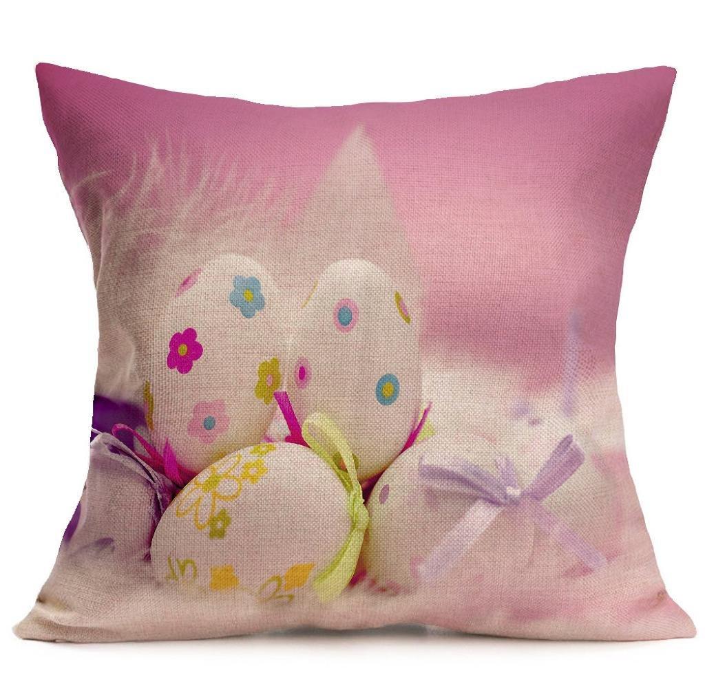 43cm×43cm Pillow Case,Singleluci Easter Festival Flax Cushion Cover (K)