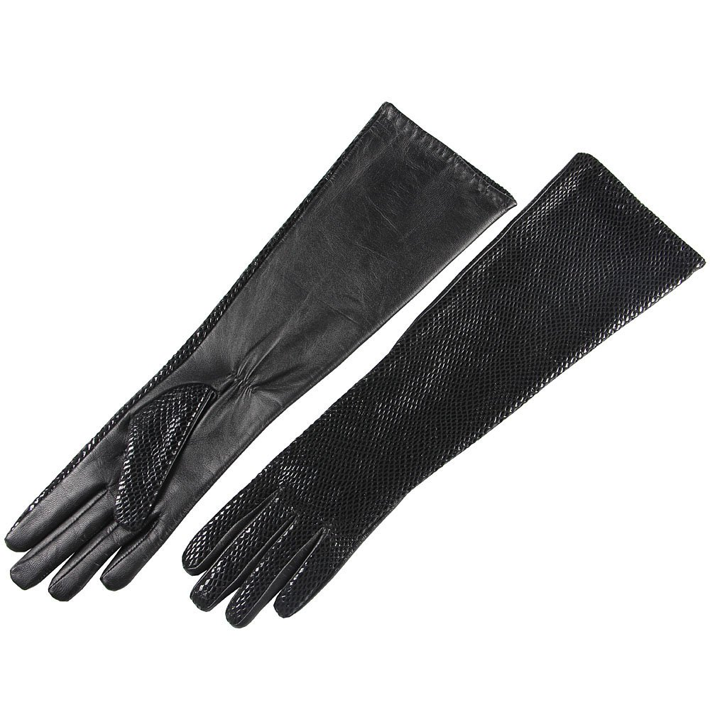 SALE Women's Long Elbow Length Dress Evening Party Nappa Leather Gloves for Bridal Wedding Driving (Large (Size runs small), Black (Style G))