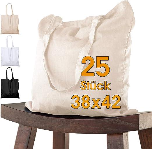 25 bolsas de algodón, 38 x 42 cm, sin estampar, asas largas, bolsa ...