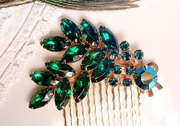 3a7ac7d09badc Amazon.com: Emerald Green Rhinestone Gold Jeweled Hair Comb, Vintage ...