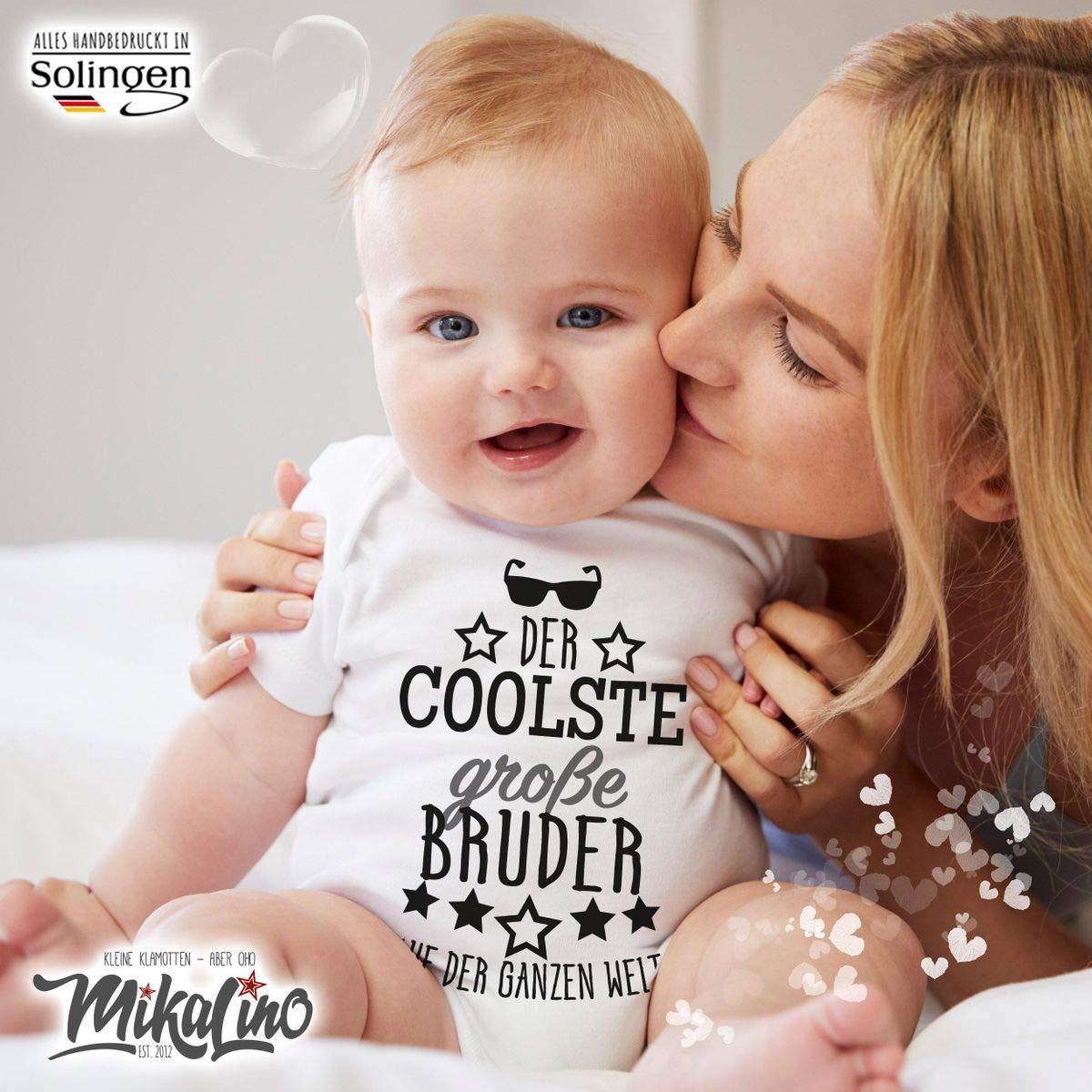 handbedruckt in Deutschland Handmade with Love Mikalino Babybody mit Spruch f/ür Jungen M/ädchen Unisex Kurzarm Der coolste gro/ße Bruder auf der ganzen Welt