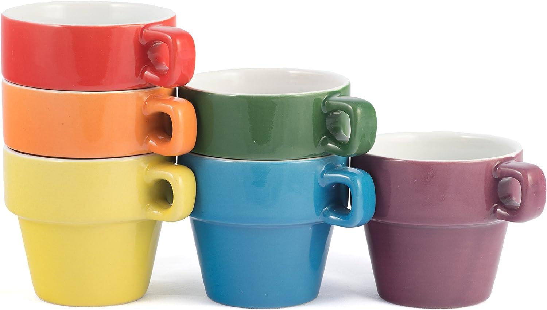 Black Multi Colored Hand Glazed Ceramic Stoneware Espresso Hanging Coffee Mug Set with Metal Tree Rainbow Color 3 OZ