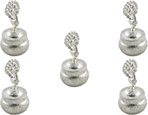 GoldGiftIdeas Silver Plated Peacock Sindoor Dabbi with Lid, Pooja Items for Home, Perfect Wedding and Housewarming Return Gift with Designer Potli Bags (Pack of 5)