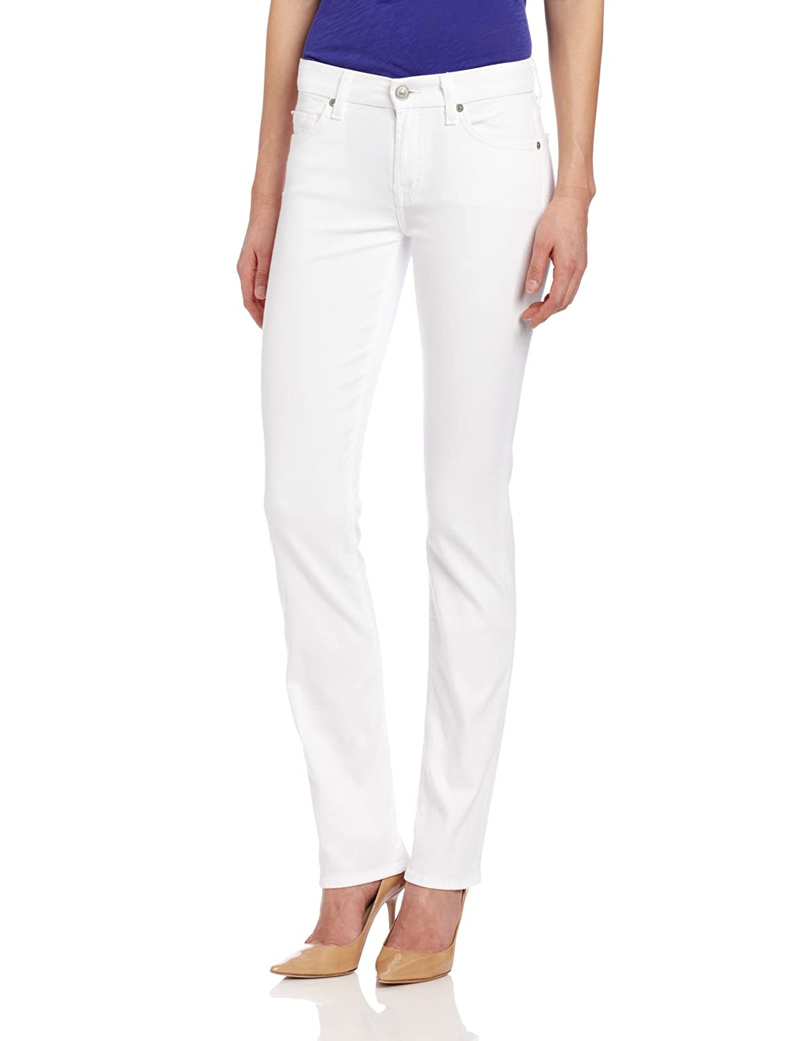 7 For All MankInd Women's Kimmie Straight Jean In Clean White