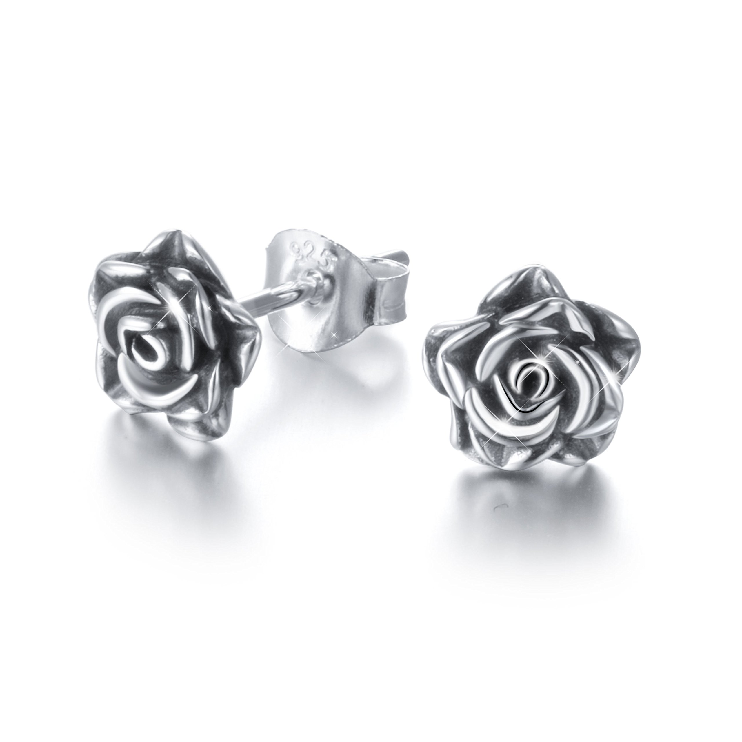 S925 Sterling Silver Rose Flower Stud Earrings for Women Girl (Oxidized Silvery)