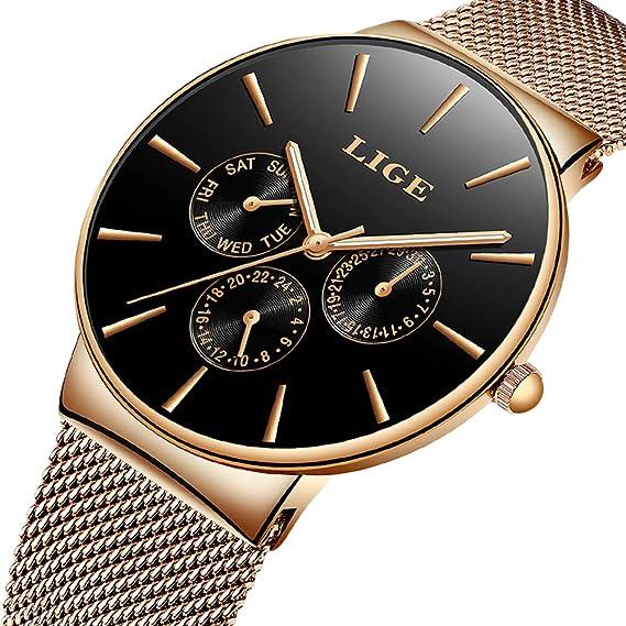 Relojes para Hombres Acero Inoxidable Impermeable Deportes Reloj Analógico de Cuarzo para Hombre Marca de Lujo LIGE Negocios Casual Relojes de Pulsera con ...