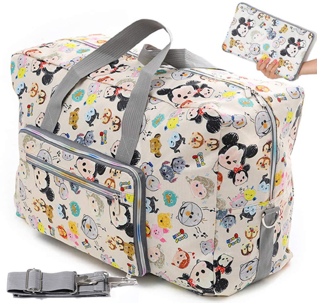 Foldable Travel Duffle Bag for Women Girls Large Cute Floral Weekender Overnight Carry On Bag for Kids Checked Luggage Bag (Z-Beige Mickey)