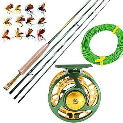 Amazon Com 5 6 Fly Fishing Rod Set 2 7m Fly Rod And Fly Reel Combo With Fishing Lure Line Box Set Fishing Rod Tackle Light Green Sports Outdoors