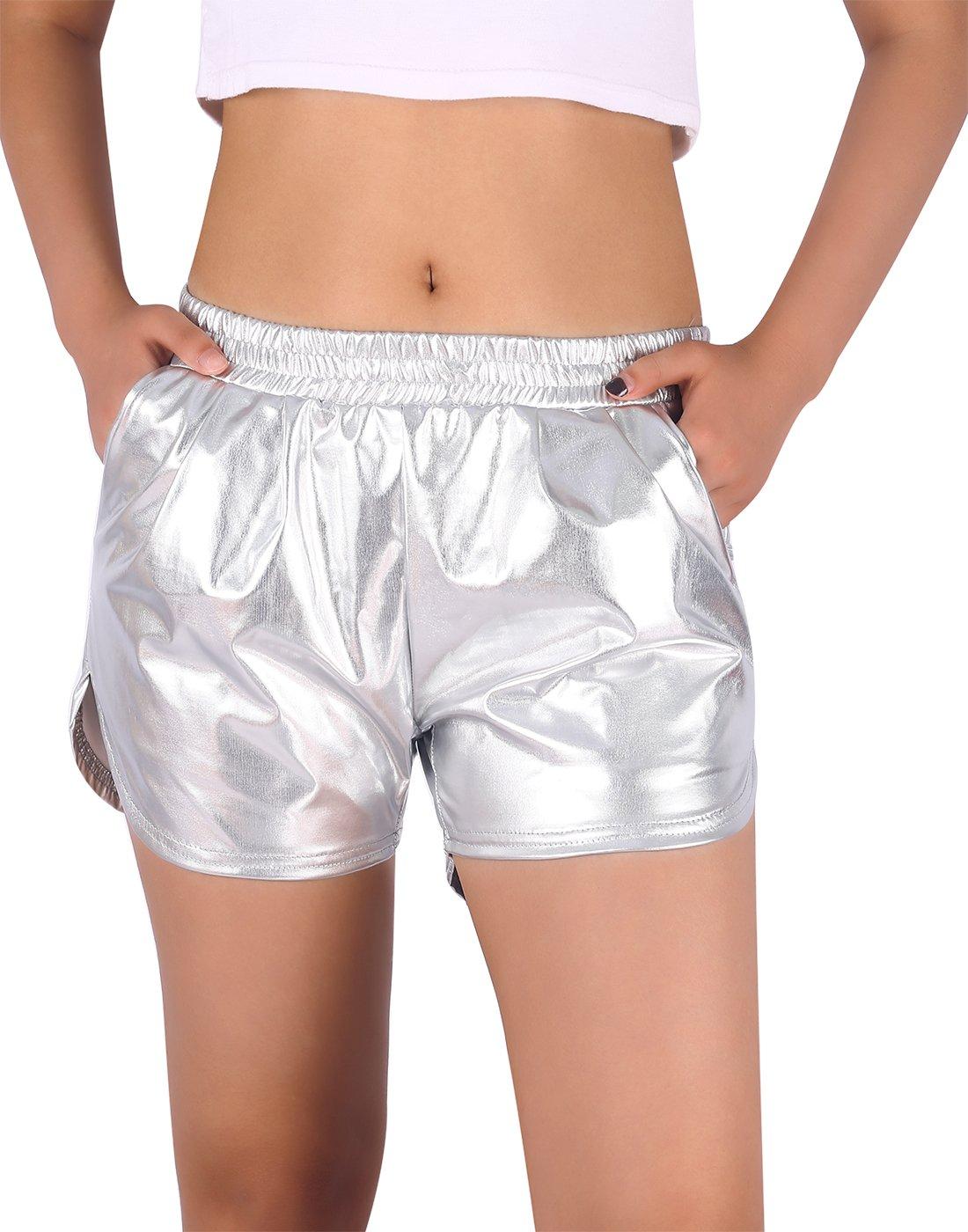 HDE Women's Hot Shorts Loose Shiny Metallic Yoga Pants (Silver, Medium)