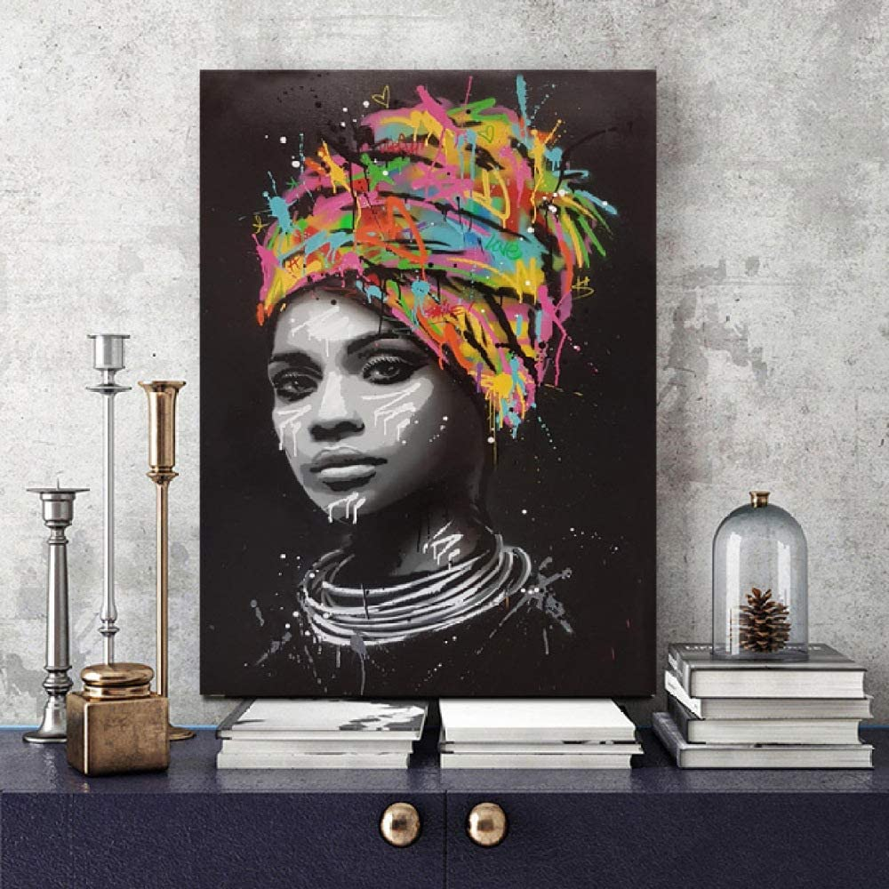 zgmtj Chica Africana Abstracta con Letra Arte de la Pared Lienzo Pop Moderno Graffiti Pintura del Arte Mujer Negro Cuadros Imagen decoración para el hogar
