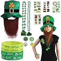St Patrick's Day Accessory Set Irish Party Favor Shamrock Hat,Buttons, Rubber Wristbands Bracelets, Stickers,Necklaces…