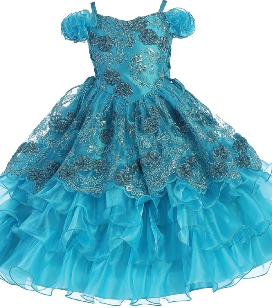 Little Girls Embroidered Organza Overlay Flowers Girls Dresses Turquoise Size 4