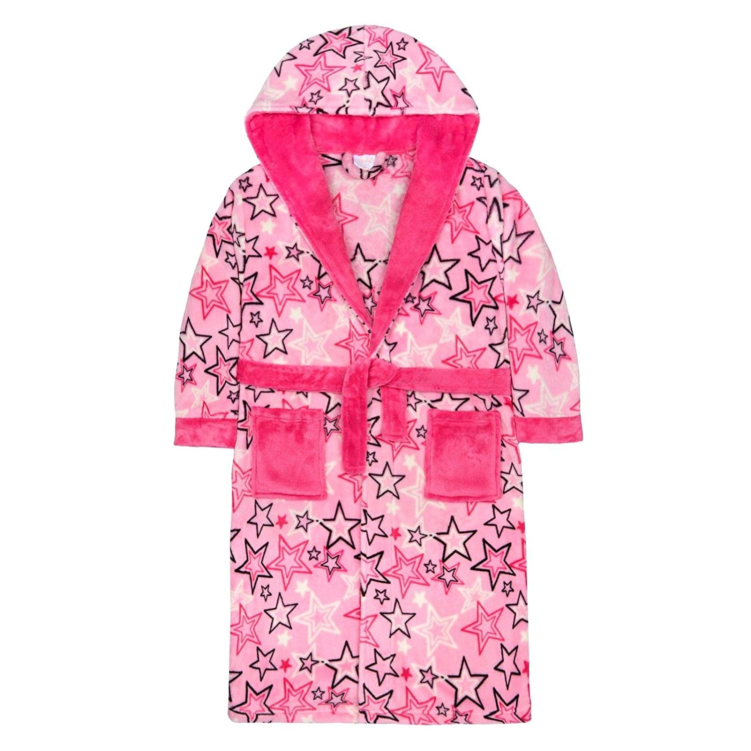 vedderluggage Thick & Cosy Girls Star Pink Hooded Robe Dressing Gown Teens Teenager Xmas Gift