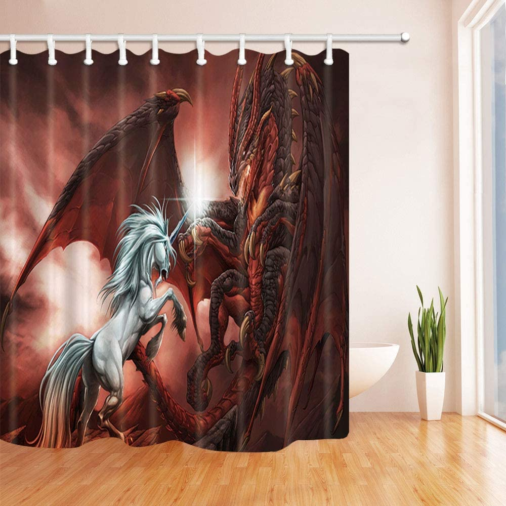 ChuaMi Fantasy Shower Curtain Red Dragon and White Unicorn 69 x 70 Inches Animal Theme Bath Curtain Polyester Fabric Bathroom Decor Set with 12 Hooks