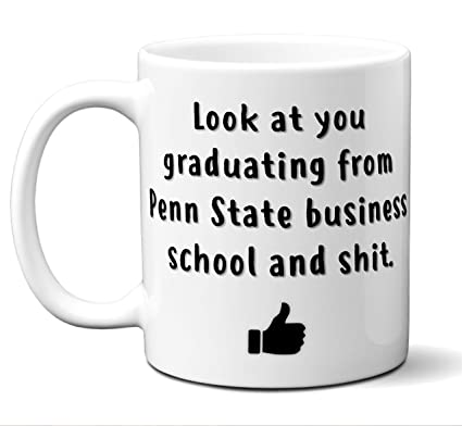 Penn State Business School Graduation Gift Coffee Mug Cup. Student Grad Idea BBA BBM Commerce
