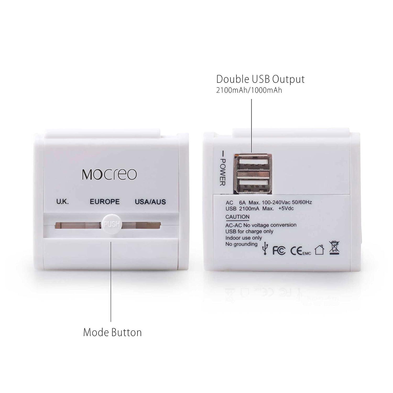 Us to uk ac power plug white black travel wall adapter plug converter - Amazon Com Mocreo Travel Charger Wall Charger Adapter Plug Built In Dual Usb Ports White Cell Phones Accessories