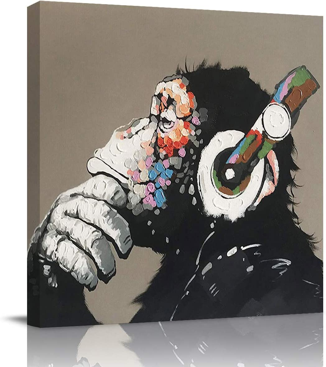 Canvas Wall Art Painting for Home Office Bathroom Decoration,Cool Ape Listening Music with Headphone Picture Giclee Print on Canvas Artworks,Framed,Ready to Hang,12x12in