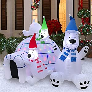Christmas Inflatables Outdoor Decorations Lawn Light Up LED Igloo and Yard Polar Bear w/Blower For The Holidays 5x7x6 ft