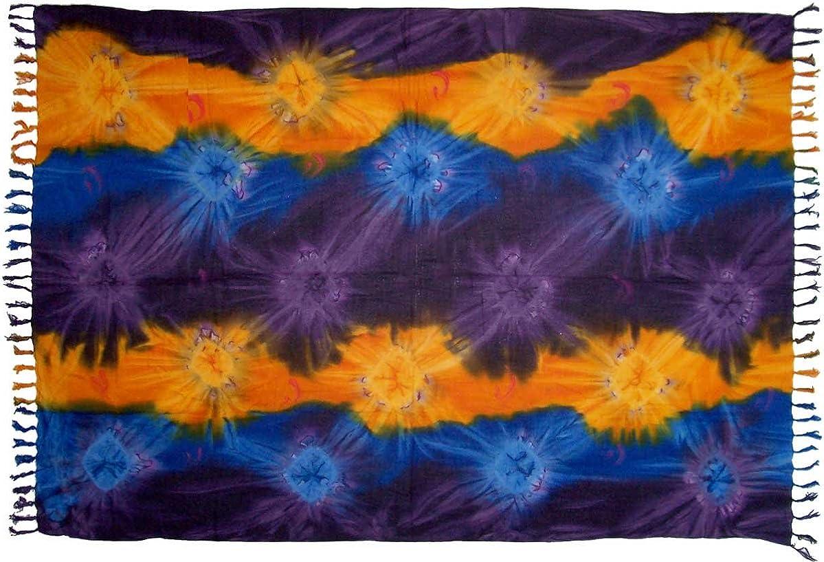 Purple, Blue /& Yellow Tie Dye Sarong