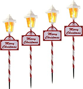 Christmas Pathway Lights Outdoor - 4 Pack Flickering Flame Solar Candy Stake Lights Waterproof Solar Landscape Lights for Christmas Garden, Patio, Yard Driveway Decoration