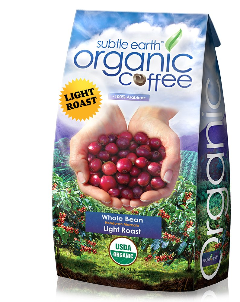 5LB Cafe Don Pablo Subtle Earth Organic Gourmet Coffee - Light Roast - Whole Bean Coffee - USDA Organic Certified Arabica Coffee by CCOF - (5 lb) Bag by Cafe Don Pablo