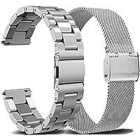 OTOPO Metallrem för Vivoactive 3 rem/Galaxy Watch Active 2 rem 40 mm 44 mm rem, 2-pack 20 mm rostfritt stål massivt…
