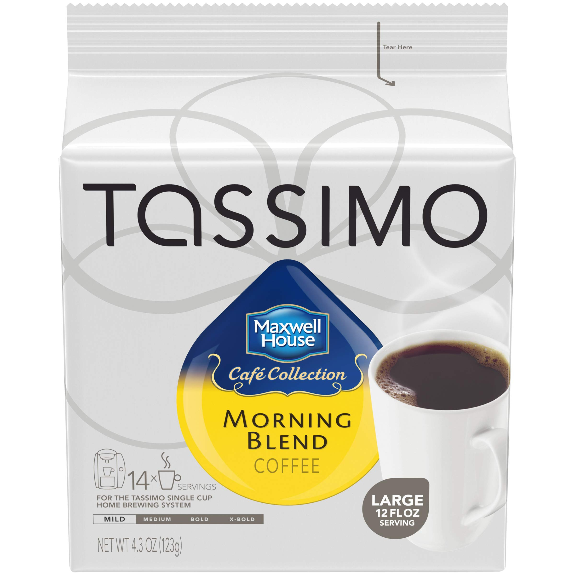Maxwell House Morning Blend Ground Coffee T-Disc for Tassimo Brewing System, 70 Count (5 Packs of 14)