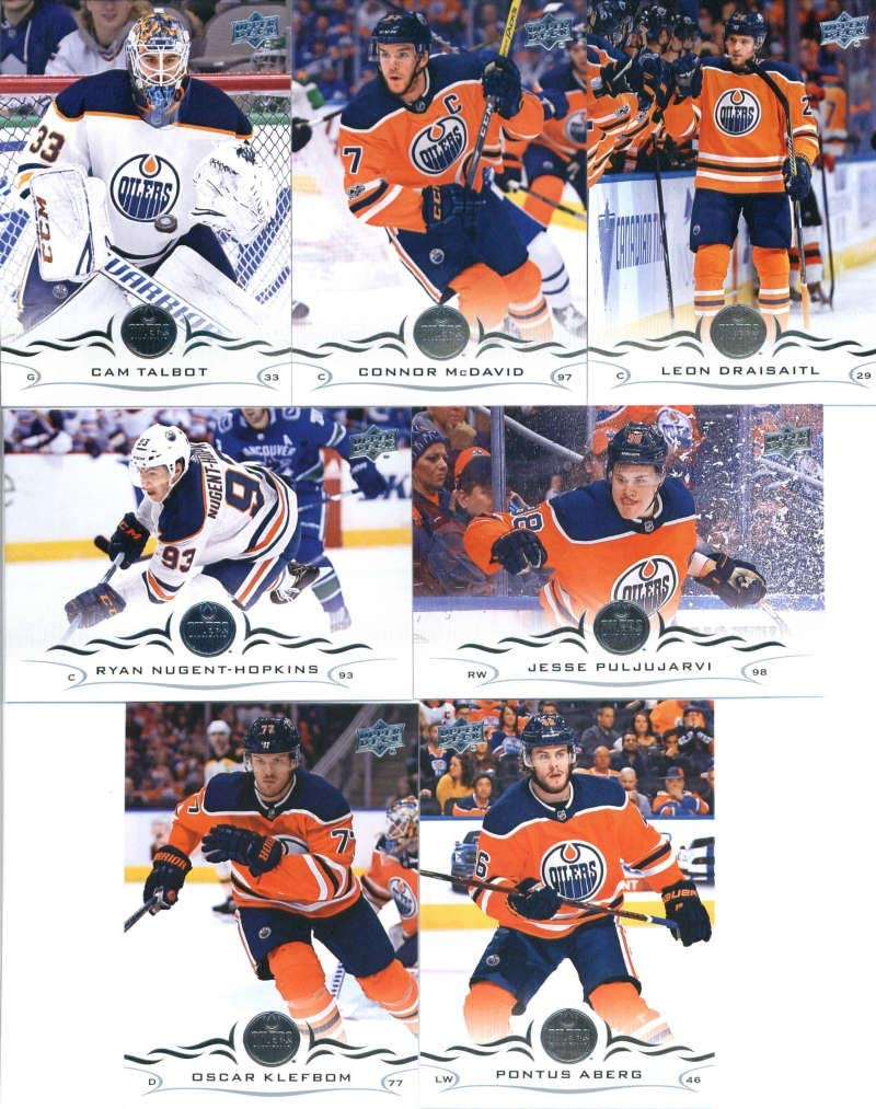 Edmonton Oilers 2019 2020 Upper Deck Factory Sealed 10 Card Team Set with Connor McDavid and Ryan Nugent Hopkins Plus